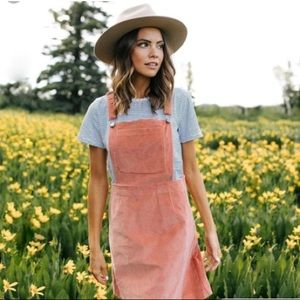 HP | Pink Corduroy Overall Jumper Dress